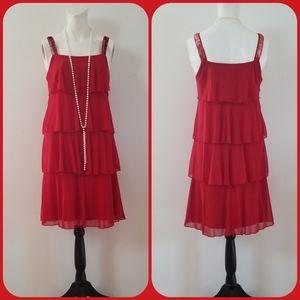 Enfocus studio red tiered shift swing dress